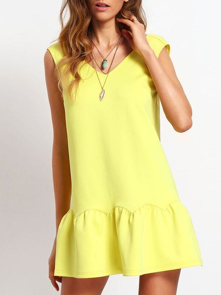 Yellow Ruffle V Neck Backless Drop Waist Dress