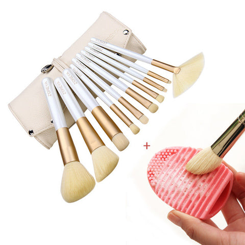 10 Pcs Fashion Makeup Brush Set With Brushegg Brush Washing Scrubber