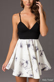 Black and White V-Neck Sleeveless Floral Print Swing Dress