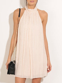 Apricot Halter Sleeveless Dress