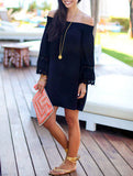 Off the Shoulder Black Dress Long Sleeve