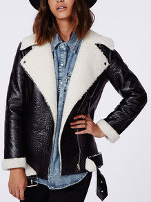 Black Leather Jacket with White Fur Lapel Winter Leather Jacket