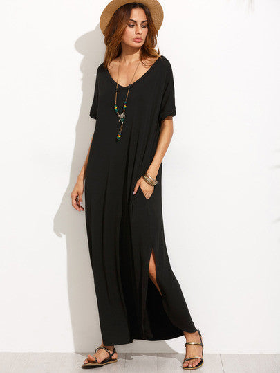 Black Maxi Dress with V Neck and Short Sleeves