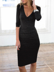 Black Midi Dress V Neck Sexy Dress