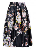 Black Floral Designed Midi Skirt