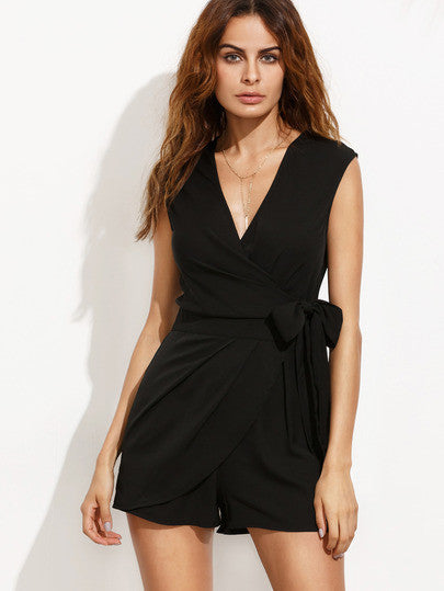 Romper with Waist Wrap Bow in Black