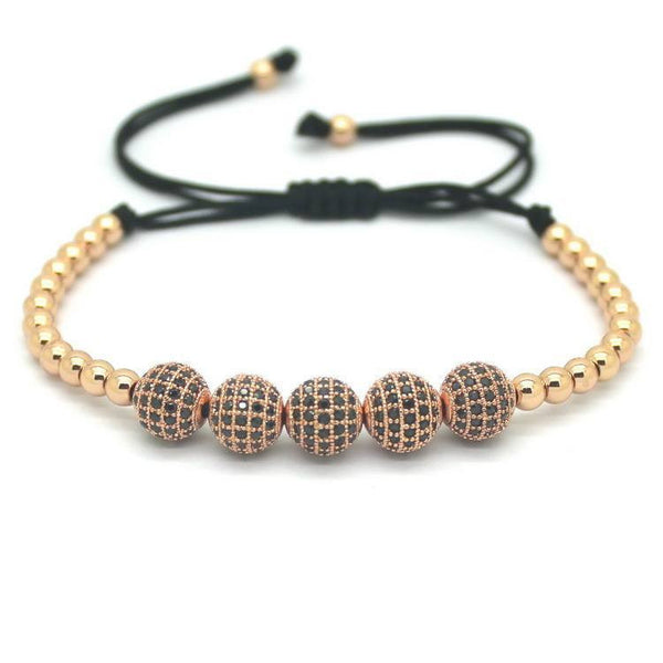18K Gold Plated Beads 5 Diamond Ball Bracelet [4 Variations]
