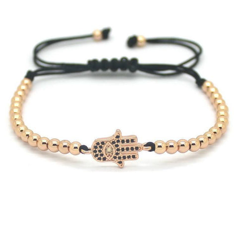 18K Gold Plated Beads Hamsa Hand Bracelet [4 Variations]