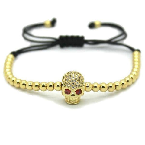 18K Gold Plated Beads Skull Encrusted Bracelet [4 Variations]