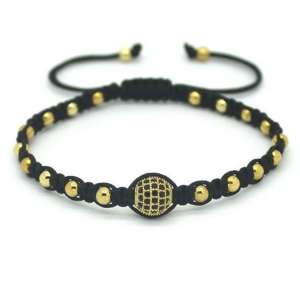 Rope Woven Bracelet with Crystal Stud