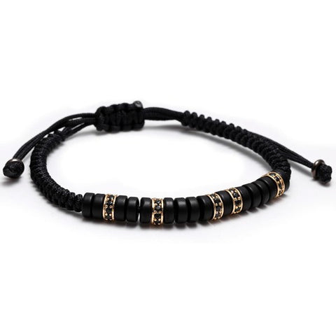 Black Zircon Cyrstal Macrame Adjustable Bracelet