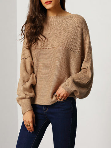 Casual Brown Boat Neck Sweater