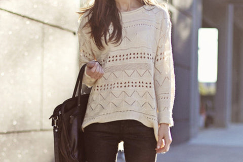 Sweater Beige Trendy Fall Fashion Knit Jumper Sweater