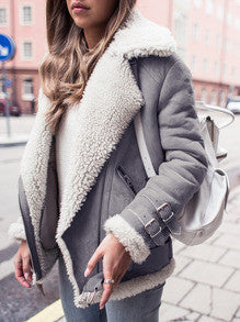 Trendy Fur Lapel Grey Jacket