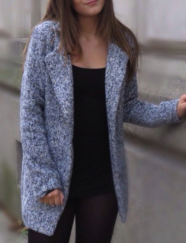 Long Grey Tweed Coat