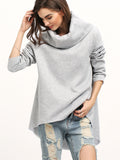 Grey Loose Sweatshirt with Cowl Neck