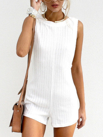 White Romper with Crew Neck and Sleeveless
