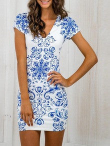 Blue and White Bodycon Dress with Tribal Print