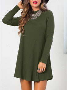 Casual Green Navy Shift Dress