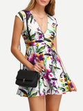 Floral Print In White Deep V Neck Skater Dress