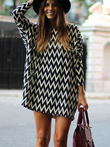 Trendy Geometric Print Dress Black and White Long Sleeve Dress