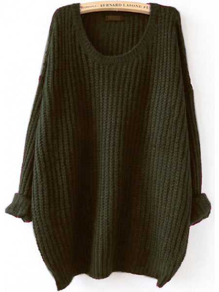 Sweater Fall Winter Fashion Green Loose Knit Sweater