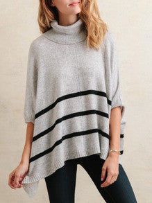 Grey Cowl Neck Striped Sweater Trendy Turtle Neck Cardigan