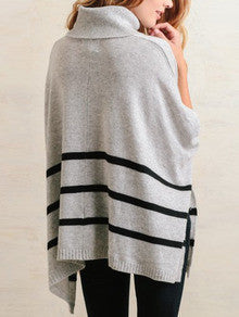 3775c32554 Grey Cowl Neck Striped Sweater Trendy Turtle Neck Cardigan – Ombre Glam