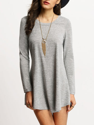 Casual Grey Long Sleeve Shirt Dress