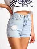 Jean Shorts Light Blue Denim Ripped Bleached Shorts