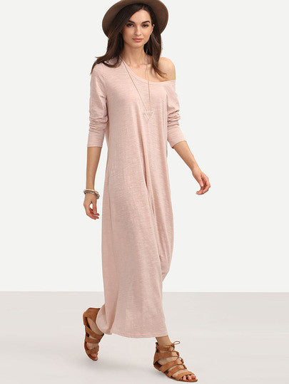 Pink Long Sleeve Loose Casual Maxi Dress