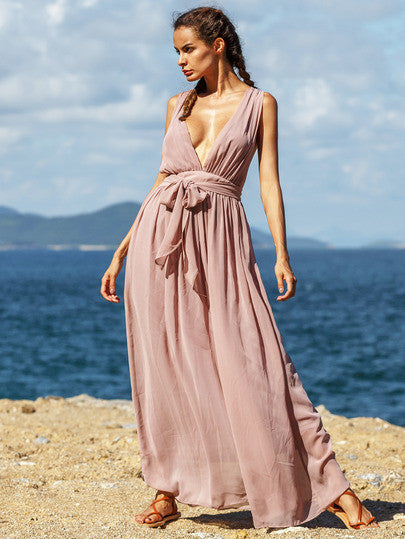 Summer Beach Maxi Dress in Dark Pink with V Neck
