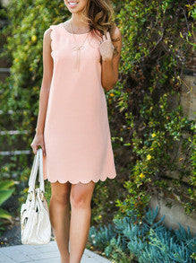 Pink Sleeveless Scallop Trimmed Dress