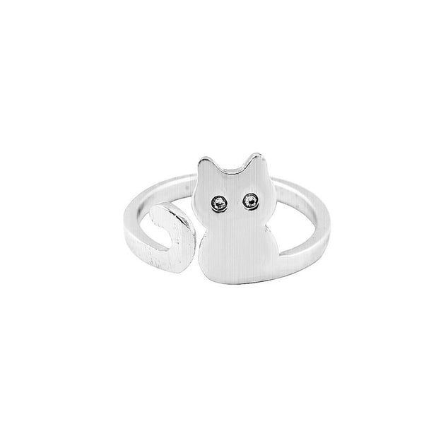 New Brushed Gold Silver and Pink Cat Adjustable Ring