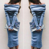 Long Sleeve Off Shoulder Vogue Stylish Charming Maxi Bodycon - Crystalline