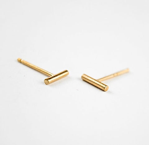 Classic Bar Earrings Tiny Geometric Round Bar Stud Earrings