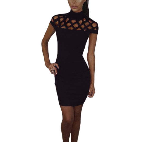 Turtle Neck Hollow Out Mesh Slim Bodycon Dress - Crystalline