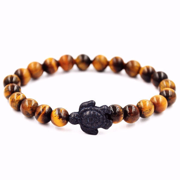 Black Turtle Charm Tiger Eye Beaded Bracelet