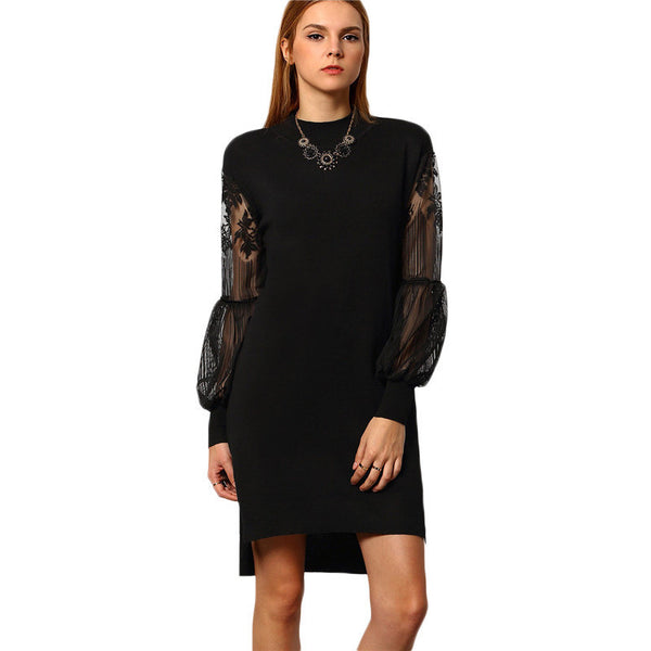 ‰ªÁ High Low Solid Black  Sheer Mesh Long Sleeve Dress ‰ªÁ