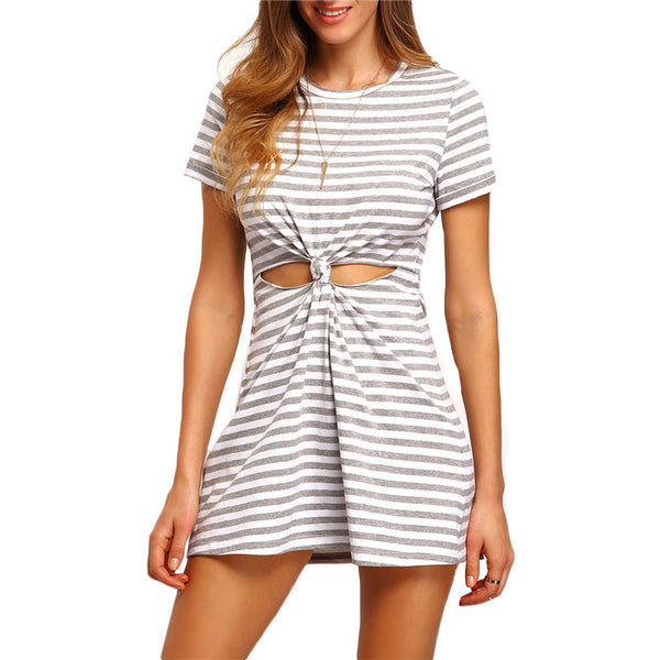 ‰ªÁ Grey and White Short Sleeve Round Neck Striped Cut-out Knotted T-shirt Dress ‰ªÁ