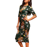 ‰ªÁ Bodycon Floral Vintage Green Pencil Midi Dress ‰ªÁ