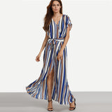 ‰ªÁ Summer Elegant Long Dresses Multicolor Striped Split Maxi Dress ‰ªÁ