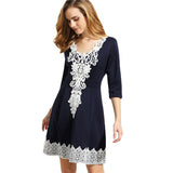 ‰ªÁ Navy V Neck Half Sleeve Crochet Pleated A Line Dress ‰ªÁ