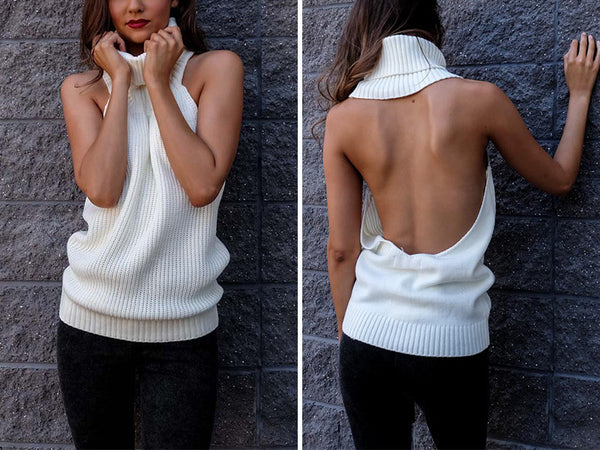 ‰ªÁ backless turtleneck knitted sweater ‰ªÁ - Crystalline