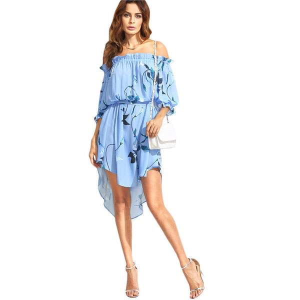 ‰ªÁ Blue Floral Multicolor Print Half Sleeve Off The Shoulder Belted High Low Dress ‰ªÁ