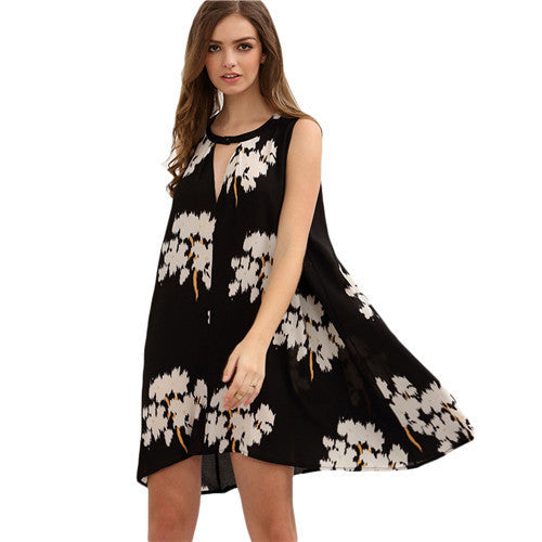 ‰ªÁ Black Round Neck Sleeveless Floral Hollow Out Loose Shift Dress ‰ªÁ