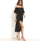 ♡ Black Off The Shoulder Short Sleeve Casual Jumpsuit With Skirt Overlay ♡