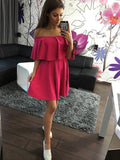 ‰÷  Hot Pink Strapless Casual Off Shoulder Mini Dress ‰÷