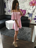 ‰÷  Pink Strapless Casual Off Shoulder Mini Dresses ‰÷