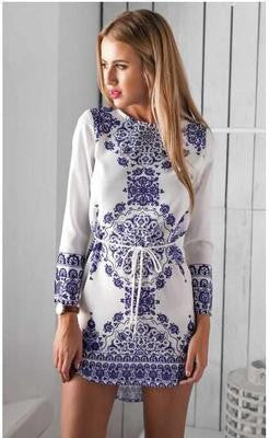 Long Sleeve Print Tunic Ladies Casual Dress - Crystalline
